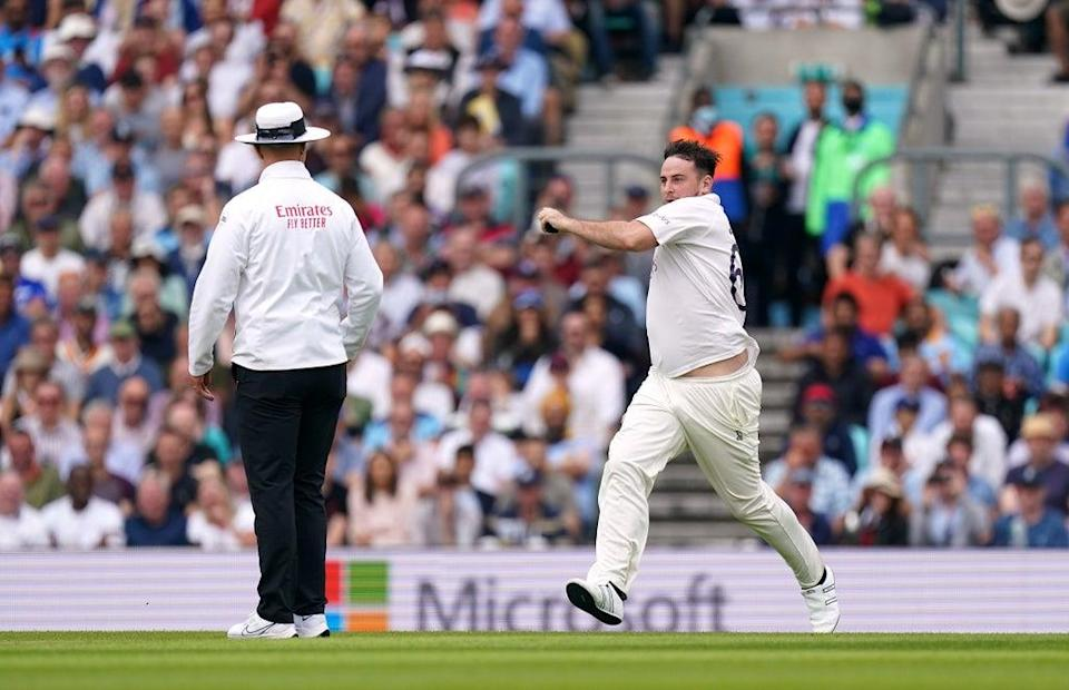 The pitch invader attempted to send down a delivery after running on to the field of play (Adam Davy/PA) (PA Wire)