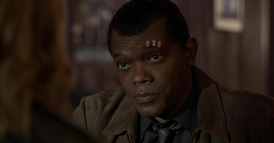 Samuel L. Jackson is back as a young, two-eyed yet already world-weary Nick Fury. (Photo: Marvel Studios)