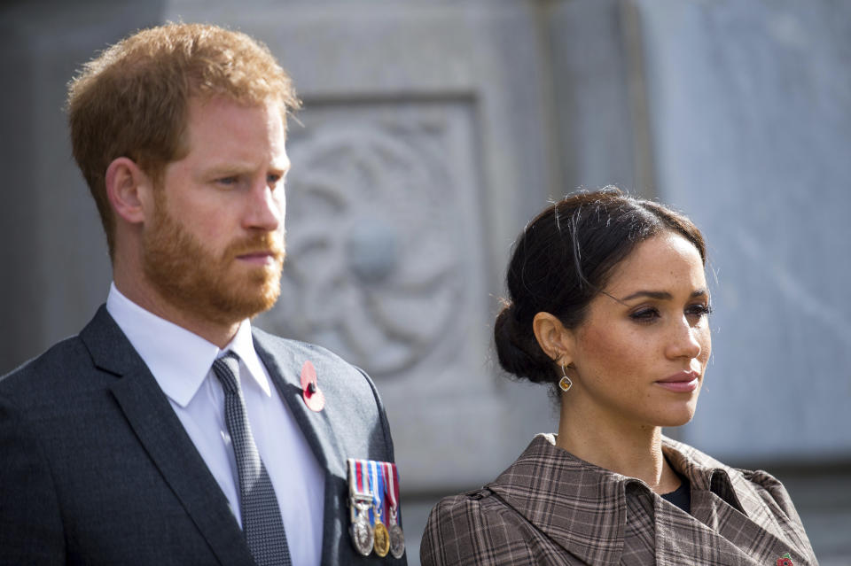 The Duke and Duchess of Sussex during a visit to view the newly unveiled UK war memorial and Pukeahu National War Memorial Park in Wellington, New Zealand, Sunday, Oct. 28, 2018. Prince Harry and his wife Meghan are on day 13 of their 16-day tour of Australia and the South Pacific. (Dominic Lipinski/Pool Photo via AP)