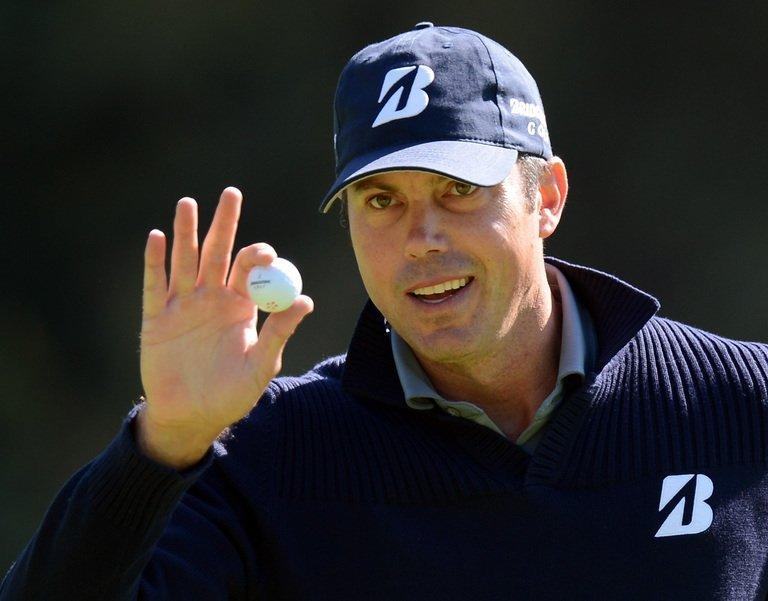 Matt Kuchar putts on the 13th to finish seven-under at the first round of the Northern Trust Open, on February 14, 2013