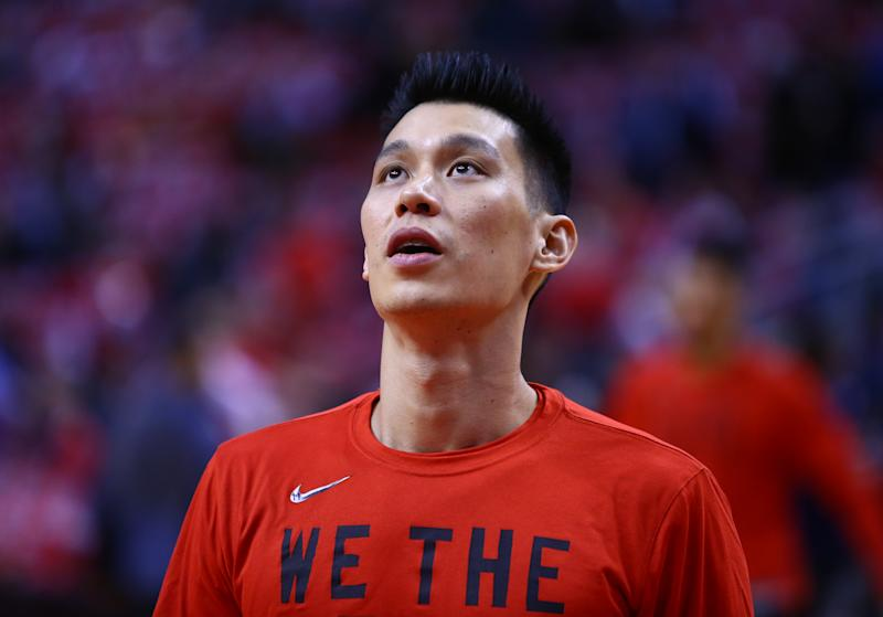 TORONTO, ON - APRIL 23: Jeremy Lin #17 of the Toronto Raptors looks on during warm up, prior to Game Five of the first round of the 2019 NBA Playoffs against the Orlando Magic at Scotiabank Arena on April 23, 2019 in Toronto, Canada. NOTE TO USER: User expressly acknowledges and agrees that, by downloading and or using this photograph, User is consenting to the terms and conditions of the Getty Images License Agreement. (Photo by Vaughn Ridley/Getty Images)