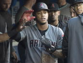 Arizona Diamondbacks' Ketel Marte celebrates in the dugout after scoring in a baseball game against the Toronto Blue Jays, Friday, June 7, 2019, in Toronto. (Fred Thornhill/The Canadian Press via AP)