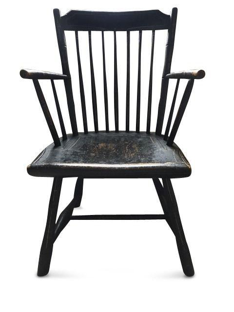 """<p><em>Antiques Roadshow</em> producer Marsha Bemko checked in with appraiser Stephen L. Fletcher of Skinner, Inc., who reports that your circa-1820s """"Rod Back"""" Windsor Armchair was likely made in the New England area. """"There were many makers of these types of chairs, so it's hard to trace it to a specific region or manufacturer,"""" he says. While the paint and pin- striping appear to be original, the chair's legs have been cut off at some point, lowering its value. """"The seat height <em>should </em>be about 17 inches,"""" he says. """"Yours was shortened to 14 1/2 inches, likely for comfort or because it was too tall for a table.""""</p><p><strong>What it's worth: </strong>$150</p>"""