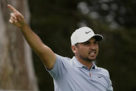 Jason Day of Australia, watches his tee shot on the sixth hole during the first round of the PGA Championship golf tournament at TPC Harding Park Thursday, Aug. 6, 2020, in San Francisco. (AP Photo/Charlie Riedel)