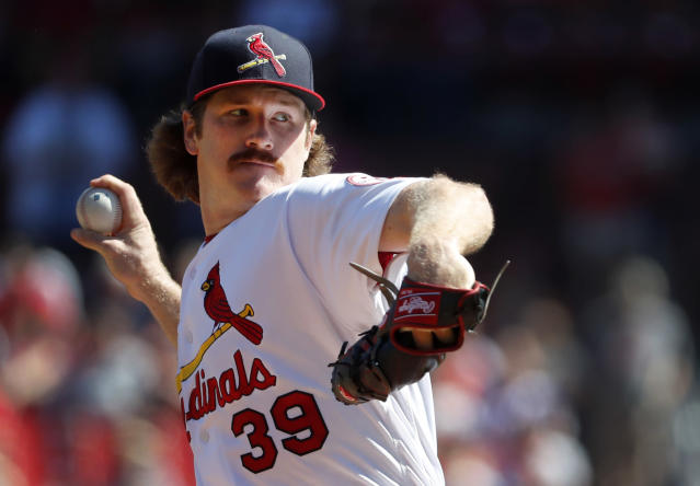 FILE - In this Sept. 23, 2018, file photo, St. Louis Cardinals starting pitcher Miles Mikolas throws during the first inning of a baseball game against the San Francisco Giants in St. Louis. Mikolas is open to discussing a long-term deal with the Cardinals rather than wait to go on the open market after the season. The 30-year-old right-hander returned to the major leagues last year after three seasons in Japan, agreeing to a $15.5 million, two-year contract with the Cardinals. (AP Photo/Jeff Roberson, File)