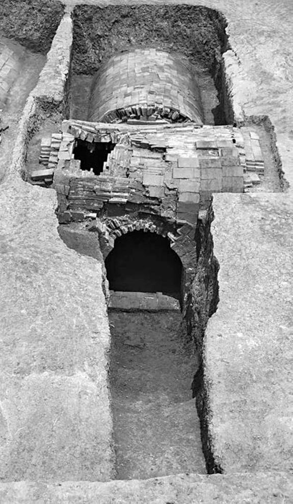 A brick tomb from the Ming Dynasty held gold treasures and the skeletal remains of a woman named Lady Mei. The tomb, with its vaulted roof, was excavated in 2008.
