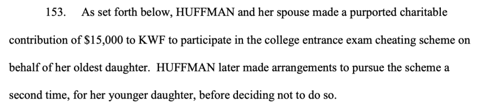 The indictment charging Felicity Huffman and others in a nationwide college admission scheme (Image: justice.gov)