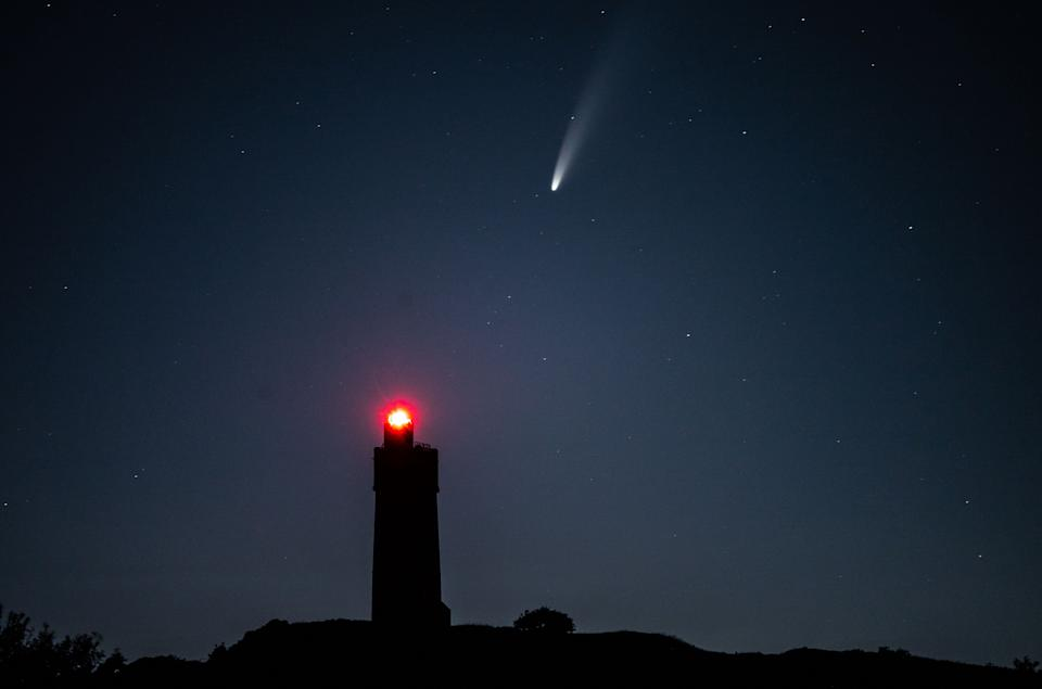 Comet Neowise passes over Castle Hill, Huddersfield, July 12 2020.