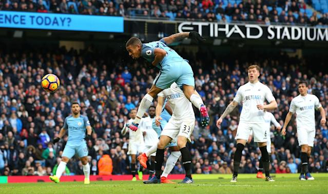 <p>Gabriel Jesus of Manchester City has his header saved in the build up to scoring his sides second goal during the Premier League match between Manchester City and Swansea City at Etihad Stadium on February 5, 2017 in Manchester, England. </p>
