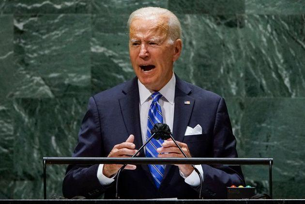 President Joe Biden addresses the 76th session of the United Nations General Assembly in New York on Tuesday, vowing to double U.S. spending on international climate aid by 2024. (Photo: EDUARDO MUNOZ via Getty Images)