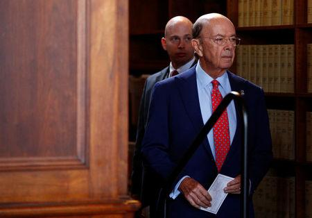 Commerce Secretary Wilbur Ross arrives to hold a news conference at the Department of Commerce in Washington
