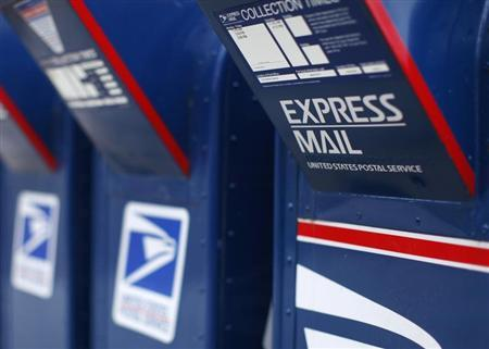 A view shows U.S. postal service mail boxes at a post office in Encinitas