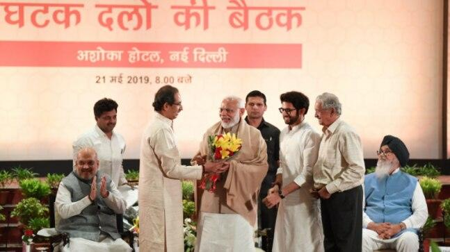 The BJP on Tuesday hosted the outgoing Union Council of Ministers and NDA leaders in two separate meetings at the national capital.  At the first meeting in the BJP headquarters, Amit Shah and union ministers including Nitin Gadkari, and Rajnath Singh felicitated PM Narendra Modi. The BJP called this a thanksgiving meeting.