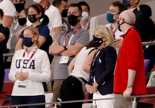 PHOTO: First Lady Dr. Jill Biden watches the New Zealand versus U.S. soccer match during the Olympic Games in Tokyo, July 24, 2021. (Molly Darlington/Reuters)