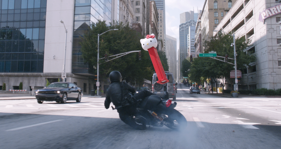 The supersize Pez dispenser, featured in the film's trailers, comes into play later in the chase. (Photo: Marvel Studios)