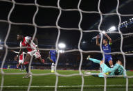 Ajax's Quincy Promes, left, celebrates after scoring his side's second goal during the Champions League, group H, soccer match between Chelsea and Ajax, at Stamford Bridge in London, Tuesday, Nov. 5, 2019. (AP Photo/Ian Walton)