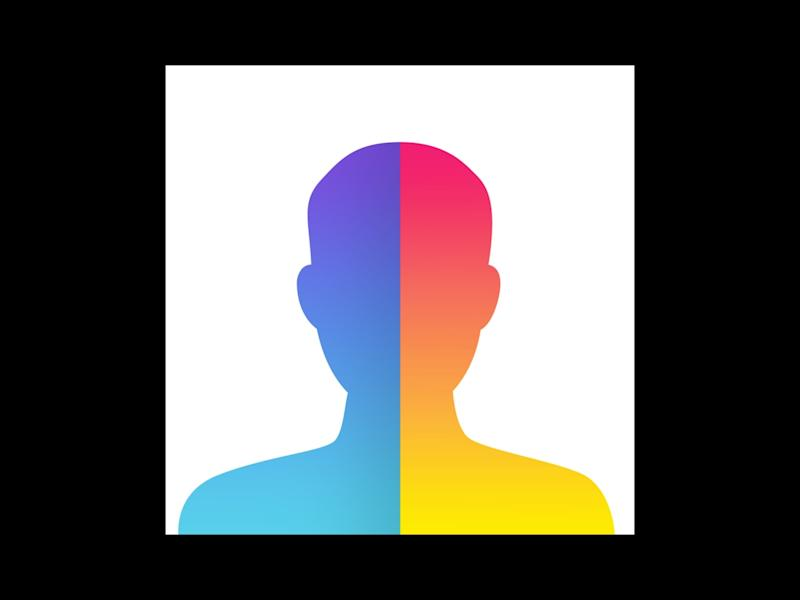 FaceApp logo, computer application that can alter photos, graphic element on black