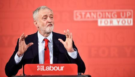 Britain's opposition Labour Party's leader Jeremy Corbyn gives a speech in central London