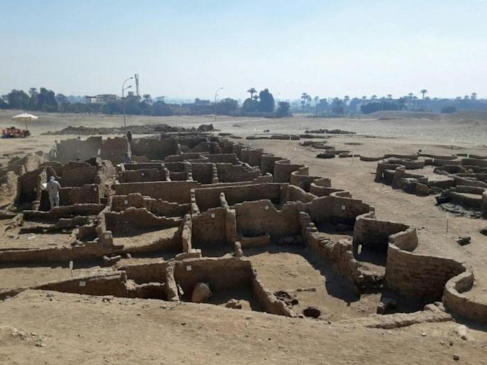 """The excavation team say the ancient city uncovered near Luxor is the """"largest"""" ever found in Egypt and dates back to a golden age during the reign of Amenhotep III, 3,000 years ago"""