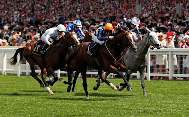 Horse Racing - Royal Ascot - Ascot Racecourse, Ascot, Britain - June 19, 2018 Accidental Agent ridden by Charles Bishop in action during the 2.30 Queen Anne Stakes REUTERS/Andrew Boyers