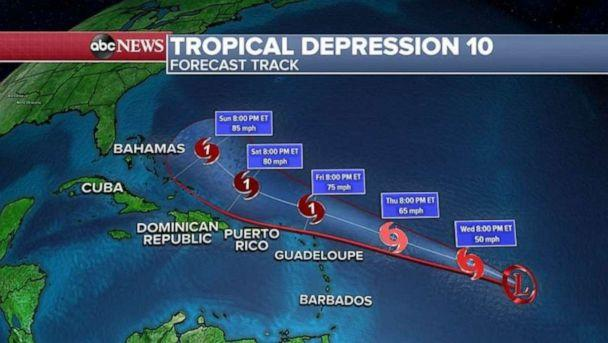 PHOTO: Tropical Depression 10 makes its way east. (ABC News)