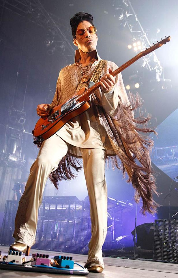 "After countless hits from ""Little Red Corvette"" to ""Diamonds and Pearls,"" <i>Rolling Stone</i> magazine designated Prince as No. 27 on its list of the 100 Greatest Artists of All Time, in part because of his electrifying guitar solos. Brian Ach/<a href=""http://www.wireimage.com"" target=""new"">WireImage.com</a> - July 10, 2011"