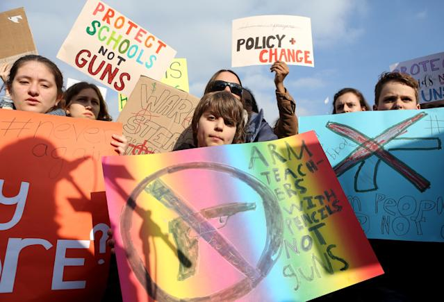 <p>Demonstrators protest at the March for our Lives demonstration on March 24, 2018 in Berlin, Germany. (Adam Berry/Getty Images) </p>