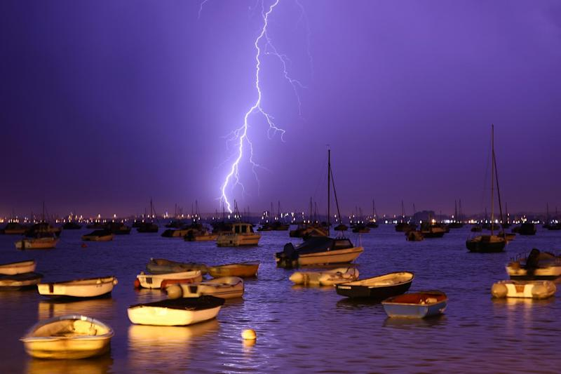 Lightning strikes over Poole Harbour (Getty Images)