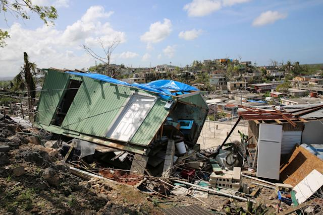 A house flattened by Hurricane Maria in Villa Hugo 2, a community within the city of Canóvanas, Puerto Rico.