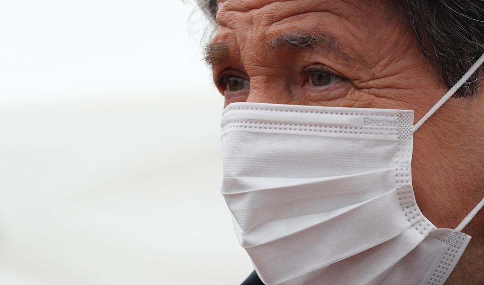 "Christian Estrosi , mayor of Nice stands in front of temporary "" consultation center "" for patients potentially contaminated with the COVID-19 (novel coronavirus) in the French Riviera city of Nice, on April 1, 2020, on the sixteenth day of a lockdown aimed at curbing the spread of the COVID-19 (novel coronavirus). (Photo by VALERY HACHE / AFP) (Photo by VALERY HACHE/AFP via Getty Images)"