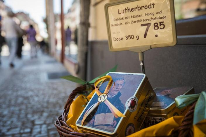 The German town of Wittenberg is cashing in on its 16th century resident Martin Luther, with many items bearing his image (AFP Photo/Odd ANDERSEN)