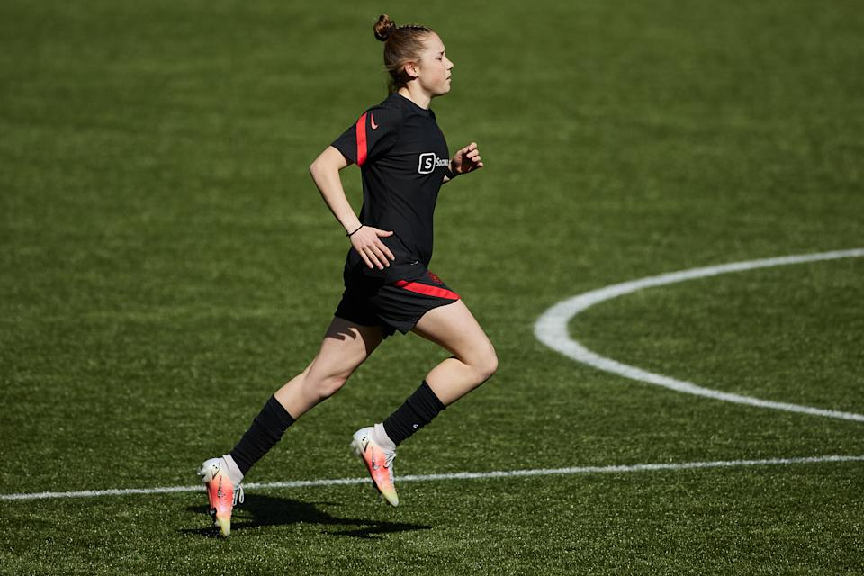 Olivia Moultrie, 15, is suing the NWSL for the right to sign a contract. (Craig Mitchelldyer/ISI Photos/Getty Images)