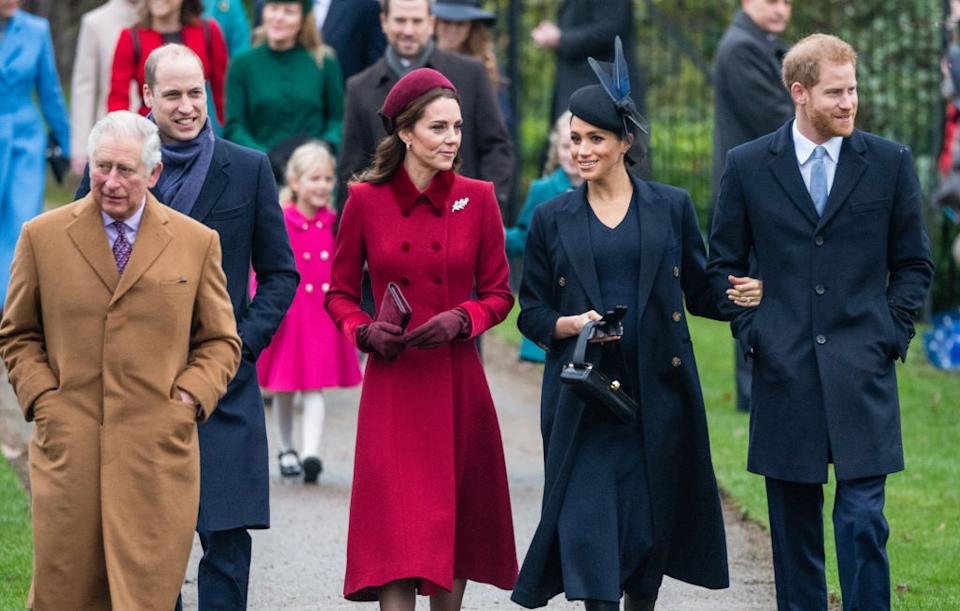 Prince Charles, Prince of Wales, Prince William, Duke of Cambridge, Catherine, Duchess of Cambridge, Meghan, Duchess of Sussex and Prince Harry pictured on Christmas Day 2018. [Photo: Getty]