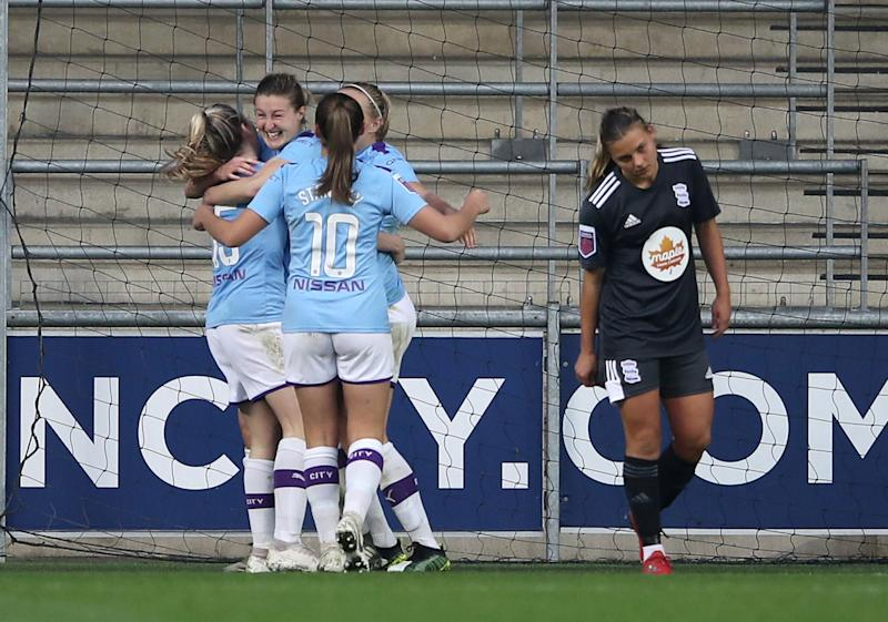 Manchester City's Ellen White celebrates scoring City's first goal against Birmingham Action Images via Reuters/Molly Darlington