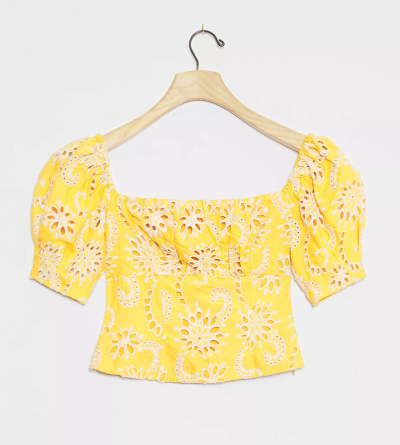 ASTR The Label Cobie Eyelet Cropped Blouse