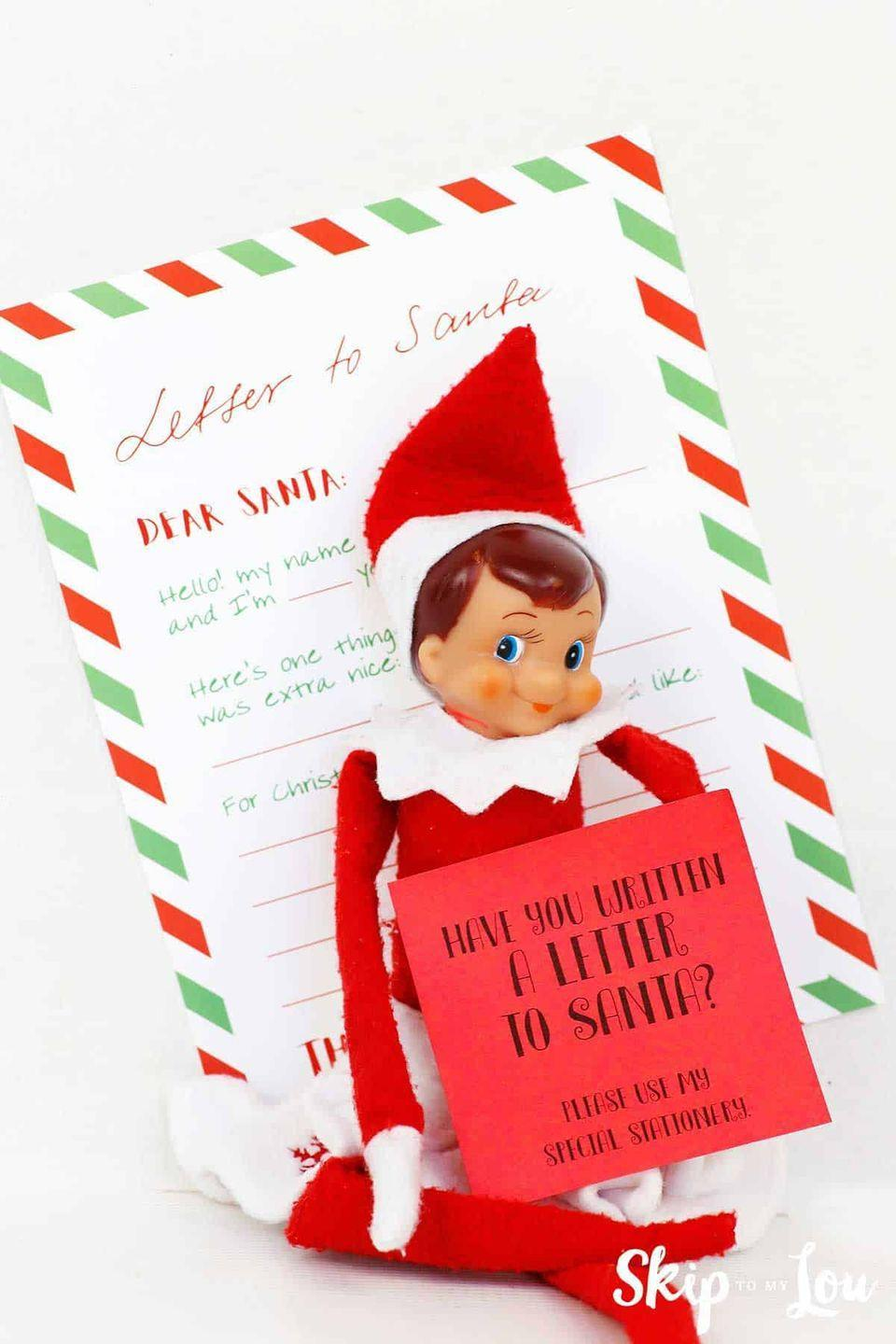"""<p>Free printable stationery makes it easy to set up this sweet activity for your kids. The fill-in-the-blank-style letter is perfect for the youngest set.</p><p><strong>Get the tutorial at <a href=""""https://www.skiptomylou.org/letter-to-santa/"""" rel=""""nofollow noopener"""" target=""""_blank"""" data-ylk=""""slk:Skip to My Lou"""" class=""""link rapid-noclick-resp"""">Skip to My Lou</a>.</strong></p><p><strong><a class=""""link rapid-noclick-resp"""" href=""""https://go.redirectingat.com?id=74968X1596630&url=https%3A%2F%2Fwww.walmart.com%2Fsearch%2F%3Fquery%3Delf%2Bon%2Bthe%2Bshelf&sref=https%3A%2F%2Fwww.thepioneerwoman.com%2Fholidays-celebrations%2Fg34080491%2Ffunny-elf-on-the-shelf-ideas%2F"""" rel=""""nofollow noopener"""" target=""""_blank"""" data-ylk=""""slk:SHOP ELF ON THE SHELF"""">SHOP ELF ON THE SHELF</a><br></strong></p>"""