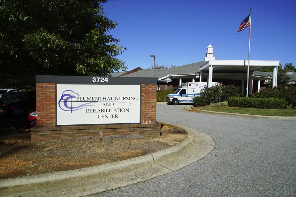 This Thursday, Sept. 23 2021 photo shows the Blumenthal Nursing and Rehabilitation Center in Greensboro, N.C. In January 2019, it had a staffing level above the benchmark used by many experts, earning four stars out of five under Medicare's staffing ratings. But it fell about 12% in the year that followed, even more in the first year of the pandemic, and still more in the months since. By June, the facility's staffing was down 15% from the start of 2020, and 25% from the start of 2019. (AP Photo/Allen G. Breed)