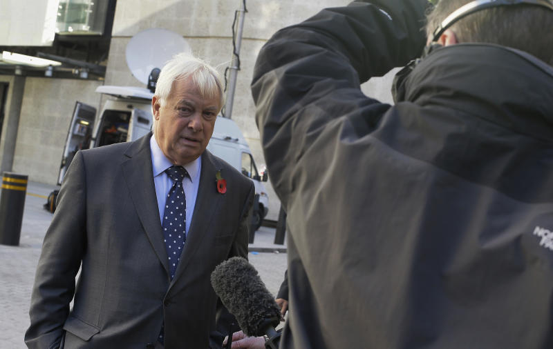 Chris Patten, Chairman of the BBC Trust prepares to give a media interview outside the headquarters of the BBC in London, Sunday, Nov. 11, 2012. The head of the BBC's governing body said Sunday the broadcaster needs a radical overhaul following the resignation of its chief executive in wake of a scandal over a botched report on child sex-abuse allegations. Chris Patten vowed to restore confidence and trust in the BBC, which is reeling from the resignation of George Entwistle and the scandals prompting his ouster. Entwistle resigned Saturday night amid a storm of controversy after a news program wrongly implicated a British politician in a child sex-abuse scandal, deepening a crisis sparked by revelations it decided not to air similar allegations against one of its own stars.(AP Photo/Alastair Grant)