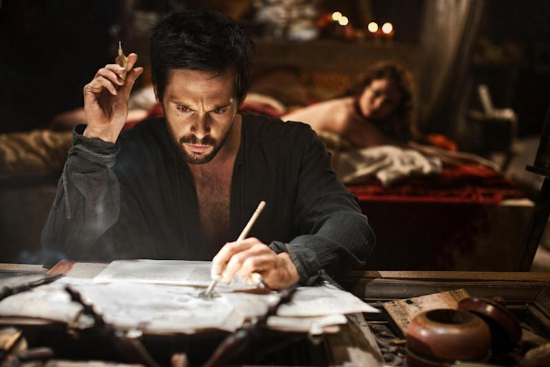 "This publicity image released by Starz shows Tom Riley as Leonardo Da Vinci in a scene from ""Da Vinci's Demons,"" premiering Friday, April 12 at 10 p.m. EST on Starz. (AP Photo/Starz Entertainment, LLC, Greg Wiliiams)"