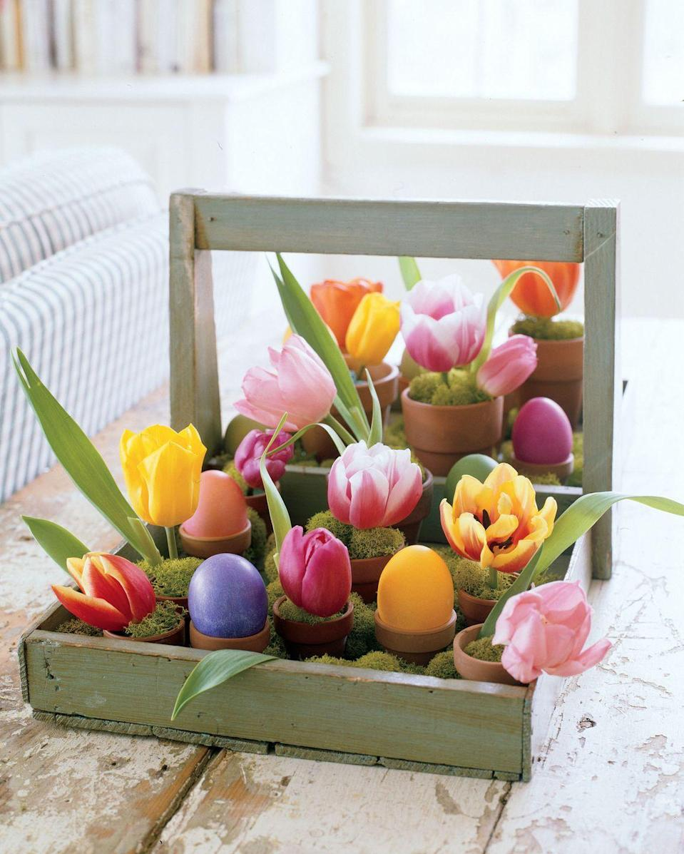 """<p>Brimming with vibrant tulips and intensely-hued eggs, a rustic berry tray becomes a cheery centerpiece to brighten any tabletop. Look for flat-bottom antique wooden carriers (called trugs) at flea markets, or artificially age a new one from a garden store using sandpaper. Place tiny terra cotta pots inside the base in free-form rows, filling the spaces in between with mounds of decorative moss. In about half the containers, perch dyed hard-boiled eggs; in the other half, insert dampened floral foam, tulip blossoms, and more moss.</p><p><a class=""""link rapid-noclick-resp"""" href=""""https://www.amazon.com/Pennington-Mini-Flower-Terra-Cotta/dp/B077KCQK8N?tag=syn-yahoo-20&ascsubtag=%5Bartid%7C10055.g.2217%5Bsrc%7Cyahoo-us"""" rel=""""nofollow noopener"""" target=""""_blank"""" data-ylk=""""slk:BUY FLORAL POTS"""">BUY FLORAL POTS</a></p>"""