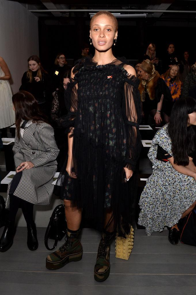 <p>Model Adwoa Aboah sat FROW at the Richard Malone AW18 show during London Fashion Week. <em>[Photo: Getty]</em> </p>