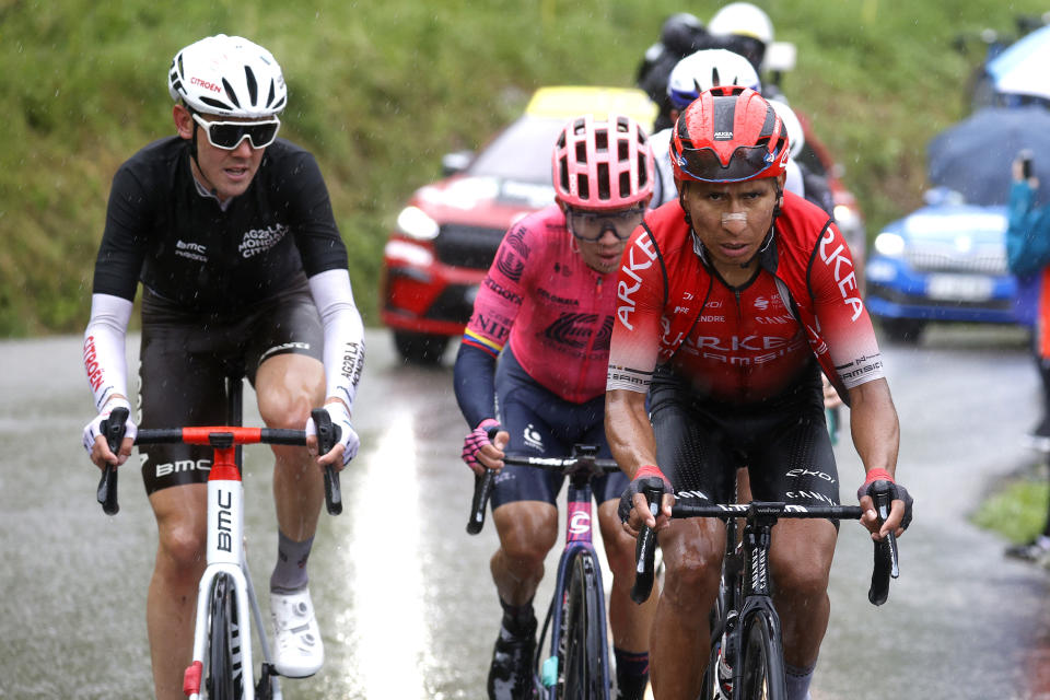 TIGNES, FRANCE - JULY 04: Nairo Quintana of Colombia and Team Arkéa Samsic, Ben O'connor of Australia and AG2R Citroën Team in breakaway during the 108th Tour de France 2021, Stage 9 a 144,9km stage from Cluses to Tignes - Montée de Tignes 2107m / @LeTour / #TDF2021 / on July 04, 2021 in Tignes, France. (Photo by Chris Graythen/Getty Images)