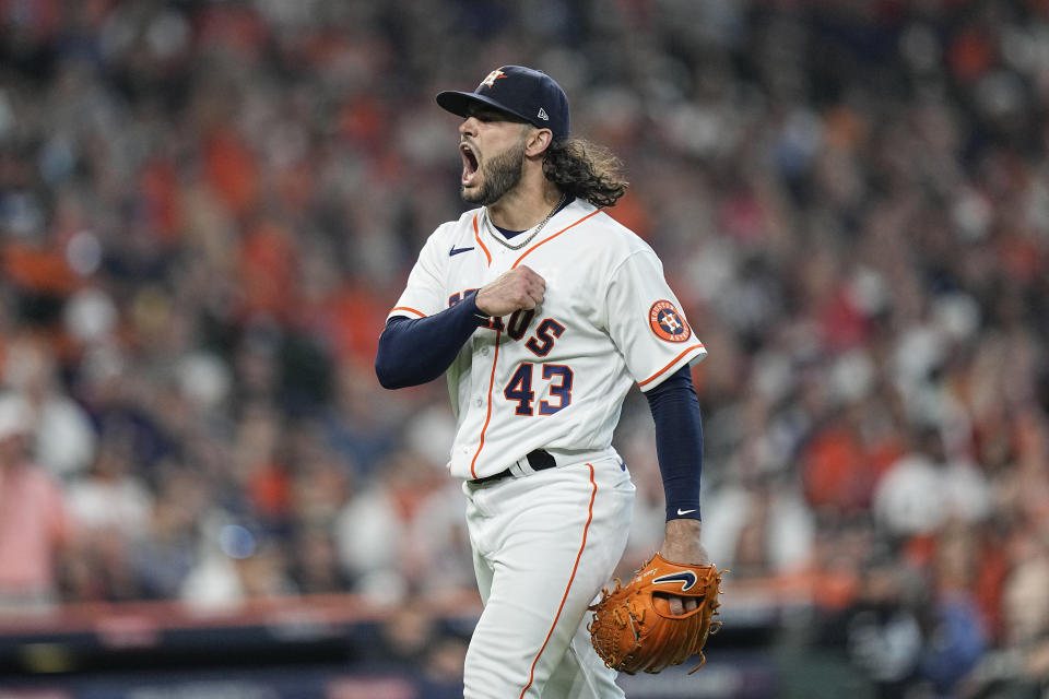 Houston Astros starting pitcher Lance McCullers Jr. reacts after he got Chicago White Sox's Adam Engel to ground out to end the top of the fifth inning in Game 1 of a baseball American League Division Series Thursday, Oct. 7, 2021, in Houston. (AP Photo/David J. Phillip)