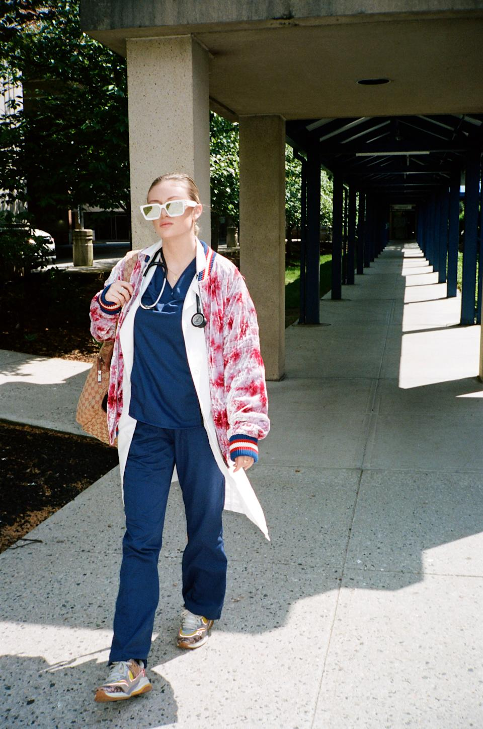 Danielle on her way to work as a Certified Cardiographic Technician. Photo: supplied.