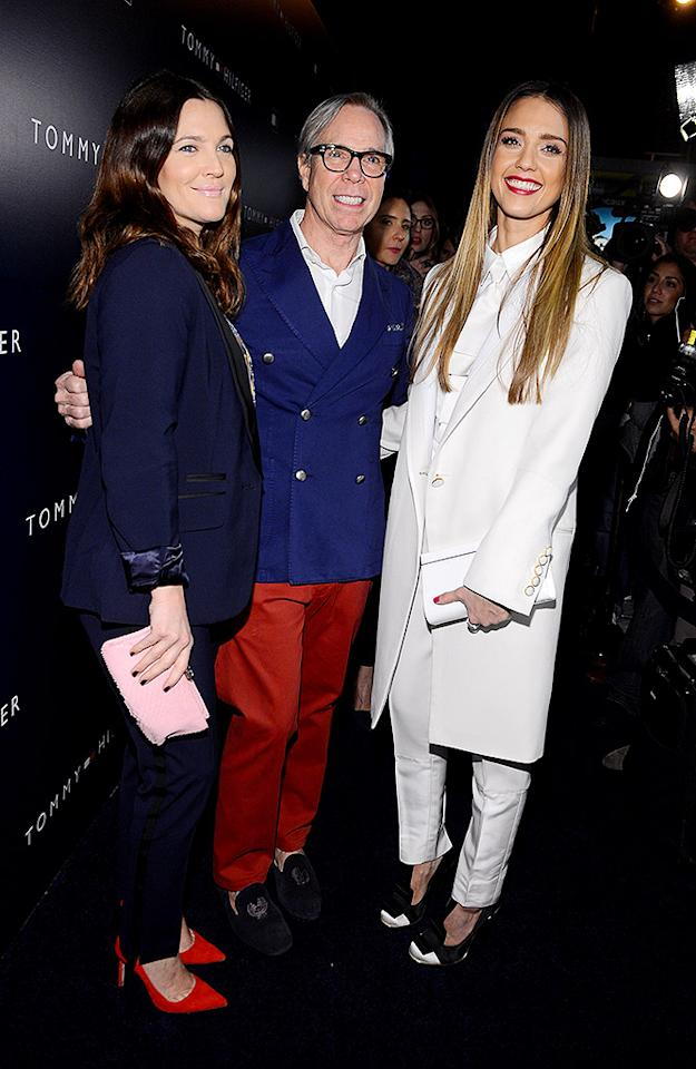 WEST HOLLYWOOD, CA - FEBRUARY 13:  (L-R) Actress Drew Barrymore, fashion designer Tommy Hilfiger and actress Jessica Alba attend Tommy Hilfiger New West Coast Flagship Opening on Robertson Boulevard on February 13, 2013 in West Hollywood, California.  (Photo by Mark Davis/Getty Images for Tommy Hilfiger)