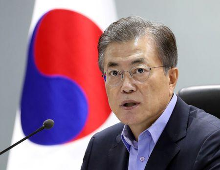 South Korean President Moon Jae-in attends the National Security Council (NSC) meeting in Seoul, South Korea on September 3, 2017. Blue House/Yonhap/via REUTERS