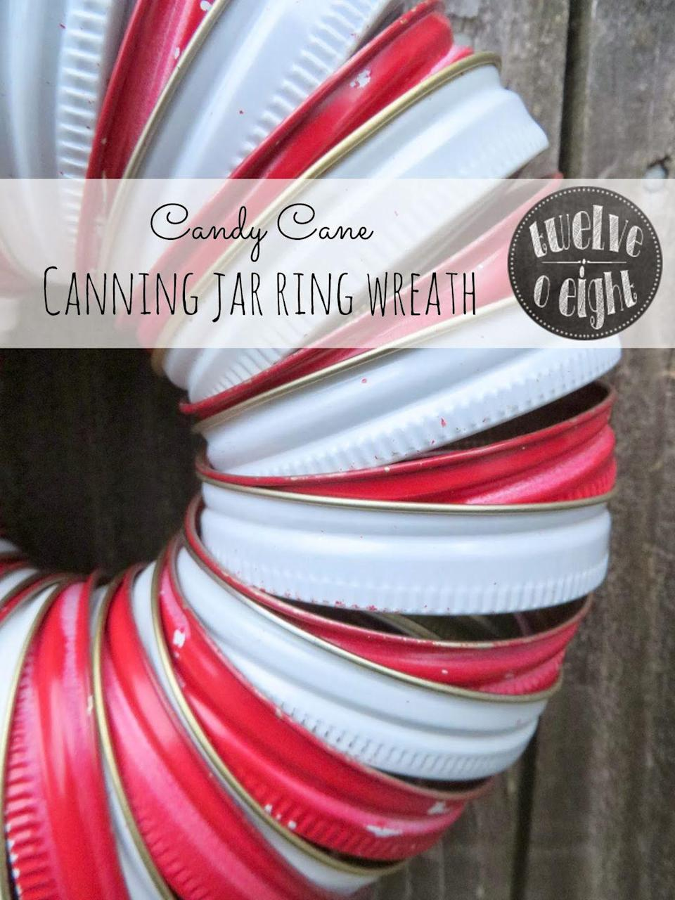 "<p>Mason jar lids get a second life in this creative, peppermint-inspired wreath.<br></p><p><span class=""redactor-invisible-space"">SHOP JAR LIDS </span><br></p><p><span class=""redactor-invisible-space""><em><a href=""http://www.twelveoeightblog.com/2013/11/candy-cane-canning-jar-ring-wreath.html"" rel=""nofollow noopener"" target=""_blank"" data-ylk=""slk:Get the tutorial at Twelve O Eight »"" class=""link rapid-noclick-resp"">Get the tutorial at Twelve O Eight »</a></em><br></span></p>"