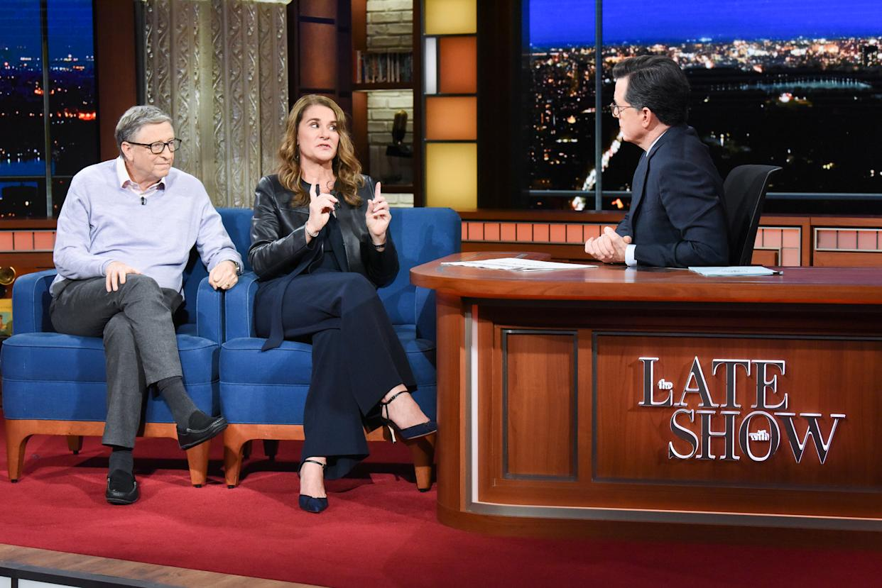 NEW YORK - FEBRUARY 12: The Late Show with Stephen Colbert and guests Bill Gates & Melinda Gates during Tuesday's February 12, 2019 show. (Photo by Scott Kowalchyk/CBS via Getty Images)