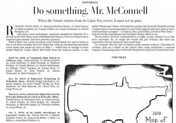 PHOTO: An editorial with the headline, 'Do something, Mr. MocConnell' appeared in the Washington Post on Sept. 4, 2019. (Washington Post)