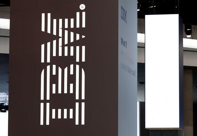 FILE PHOTO: Logo of IBM is seen at the Mobile World Congress in Barcelona